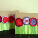 Crochet flower cards