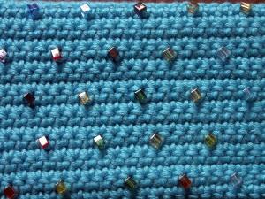Crochet pencil case close-up