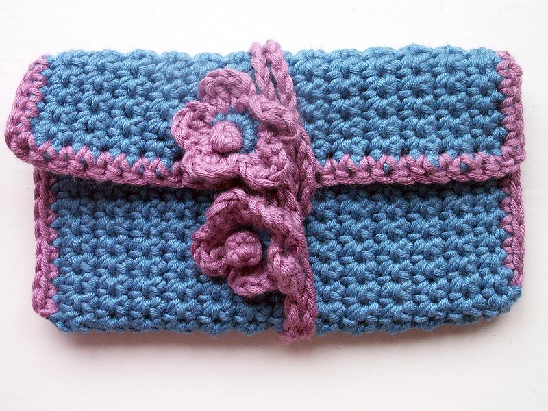 Crochet purse blue
