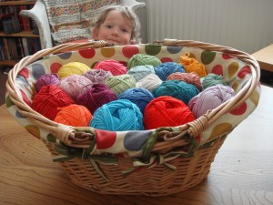 Beautiful basket of yarn