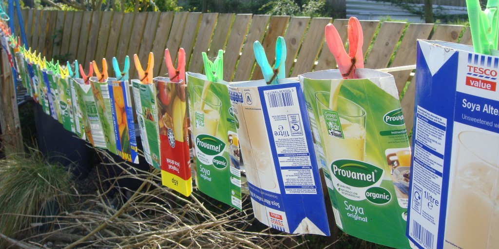 tetrapak bunting - hanging out to dry after washing