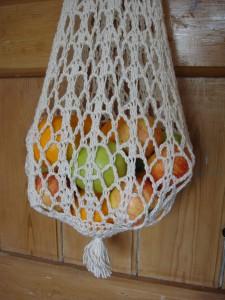 aran string bag close up