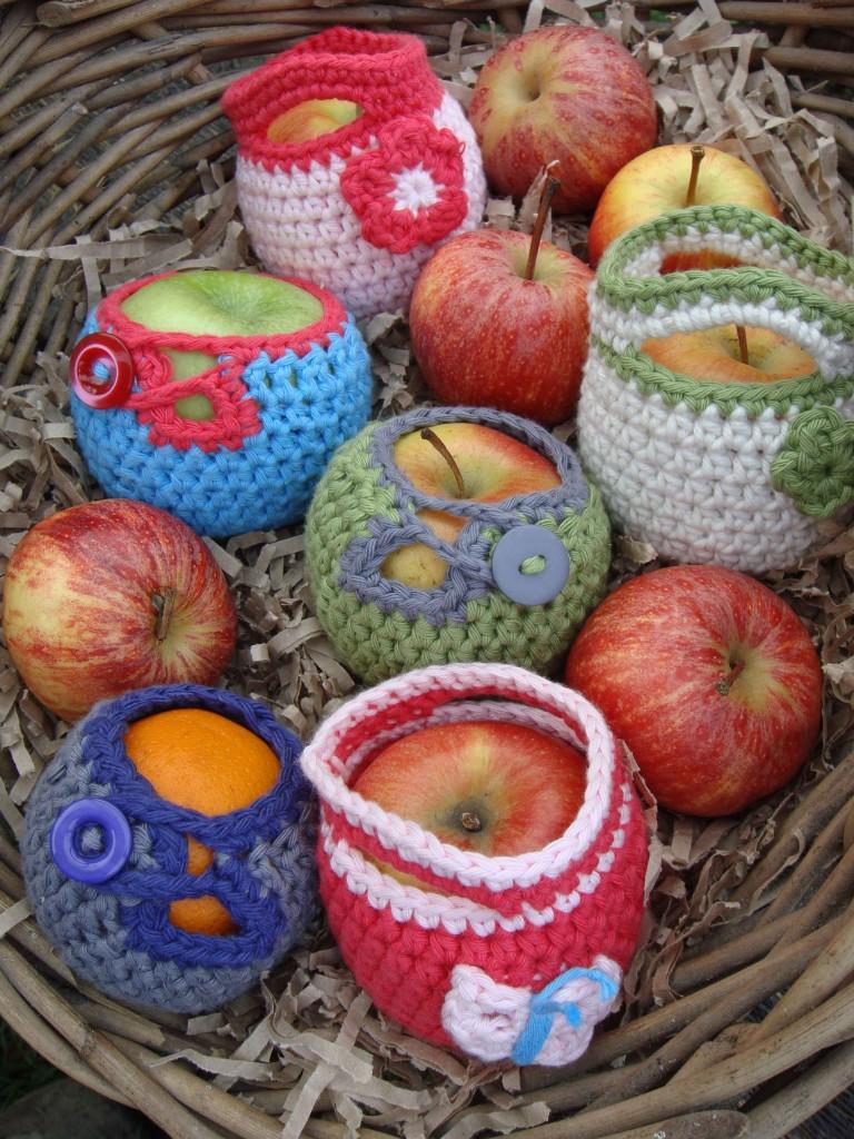 crochet fruit cosies in basket