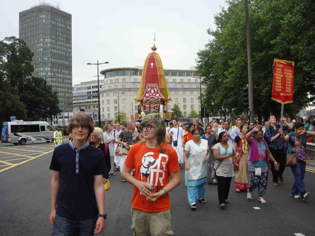boys leading Rathayatra procession