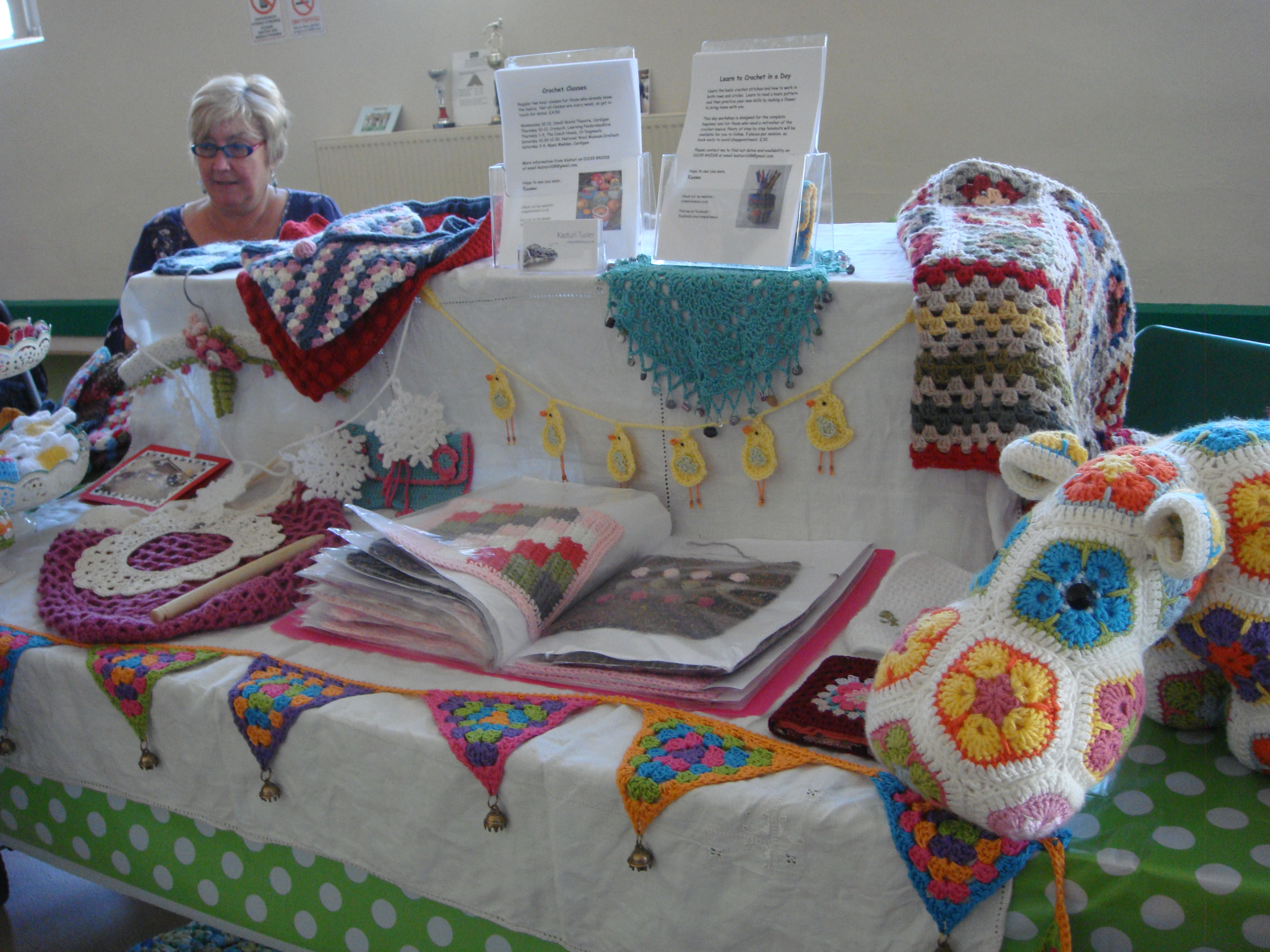 A nice selection of crochet items, with Gaynor's Hippo right at the front