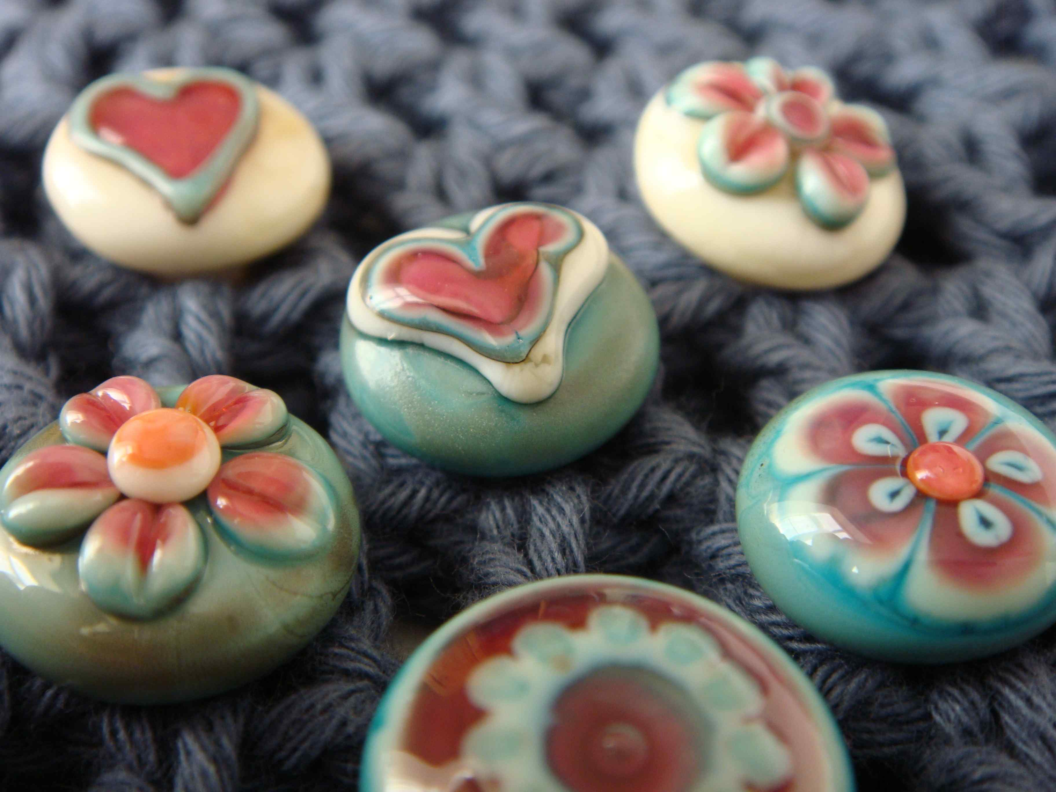 hand made glass buttons